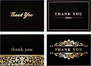 Spark Ink 100 Thank You Cards with Envelopes - Bulk Note Card Pack of Stunning Black and Gold Foil Designs - Ideal for Business, Wedding, Bridal & Baby Shower, Graduation - 4x6 Photo Size (black)