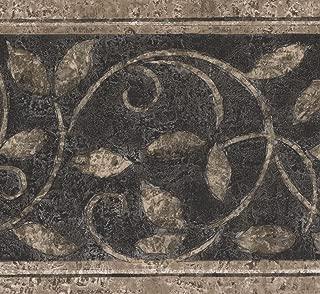 Norwall Abstract Damask Beige Vines Black Vintage Wallpaper Border Retro Design, Roll 15' x 7''
