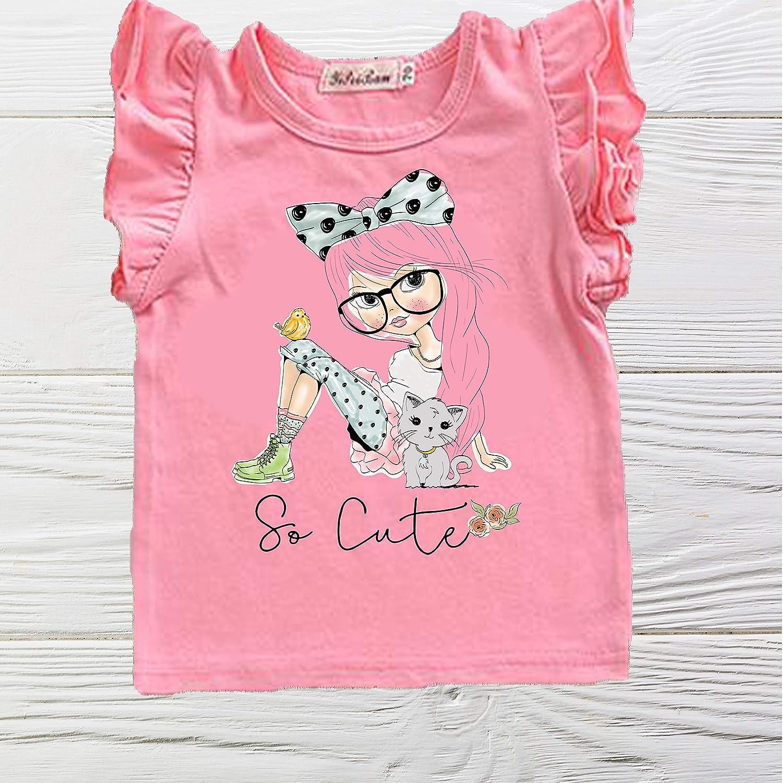 So Cute kitten shirt - Pink girl Seasonal Wrap Introduction Cheap sale shirts Sl Ruffle Cat
