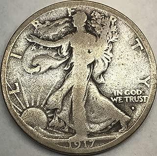 1917 S Walking Liberty WWII ERA Obverse Mint Marked Half Dollar VG