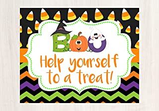 Halloween Porch Decorations, Halloween Sign, Help Yourself Sign, Halloween Porch Sign, Trick or Treat Sign, Glossy 8x10 Sign, Frame is not included