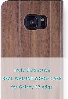 iATO Samsung Galaxy S7 Edge Book Type Case - Real Walnut Wood Grain Premium Protective Shockproof Folio Flip Cover - Unique, Classy Front & Back Bumper Accessory Designed for Samsung Galaxy S7 Edge