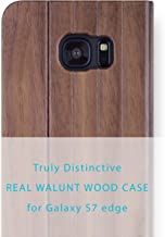 iATO Samsung Galaxy S7 Edge Book Type Case - Real Walnut Wood Grain Premium Protective Shockproof Folio Flip Cover - Unique, Classy Front & Back Bumper Accessory Designed for Samsung Galaxy S7 Edge