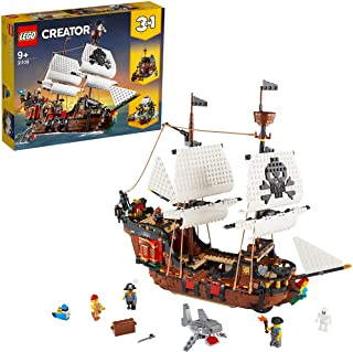LEGO Creator Pirate Ship 31109 Toy for Boys and Girls 9+ years old, 3in1 building set with 3 minifigures (1264 pieces)