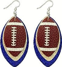 Football Earrings for Women - Glitter Leather Earrings Dangles - 3-Layered Faux Leather Big Statement Earrings - American ...