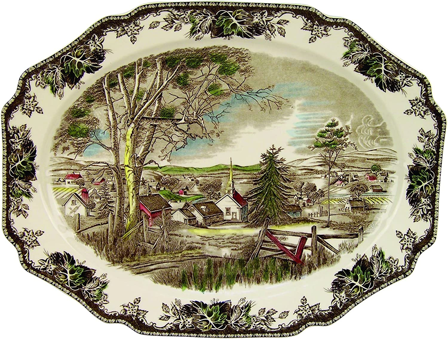 Johnson Bredhers Friendly Village 19.5-Inch Turkey Platter