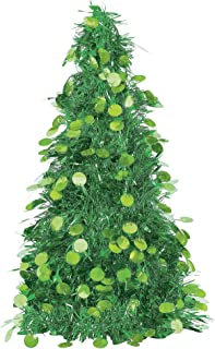 Green Tinsel Christmas Tree Table Centerpiece | Party Decoration