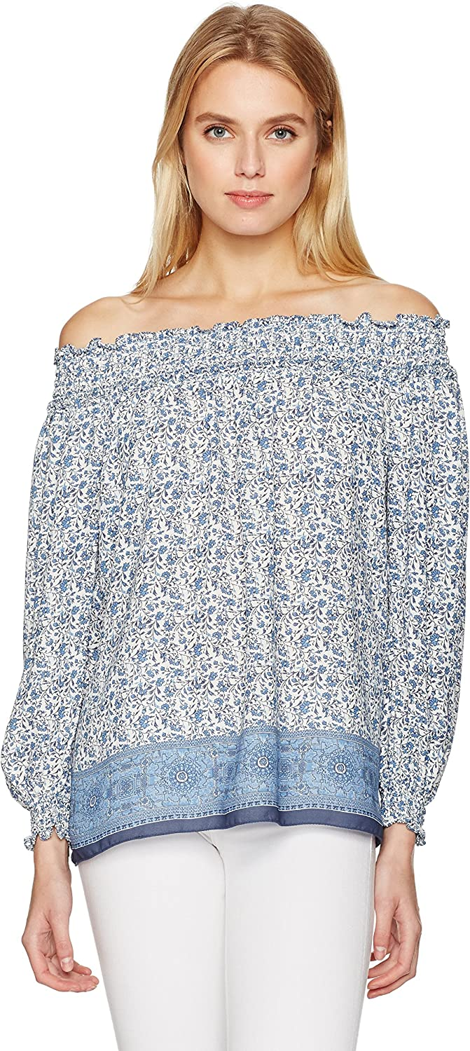 MAXSTUDIO Womens Printed Off The Shoulder Blouse Blouse