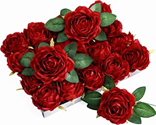 Olivachel Artificial Rose Heads with Stems & Leaves Silk Flowers Fake Roses for Home Decor Wedding Bouquet Party DIY Garland (Red - 20Pack)