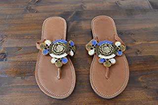 African Maasai Sandals - Handmade Leather Flip Flops - Size 6 (37 Europe) Sole length 9.76 inches/24.8 cm - Handcrafted in Kenya - Blue, White, Golden, KS33