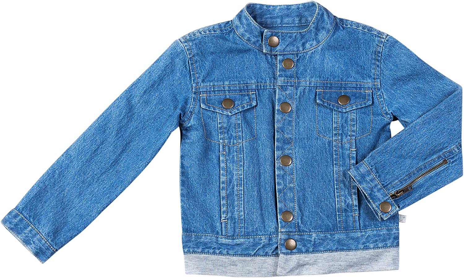 Kinderkind Kids Toddler Boy's Denim Moto Jacket - Casual Outwear Button Down Jeans Coat with 100% Cotton