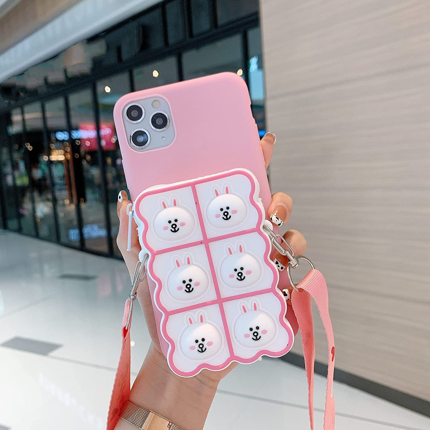 ISYSUII Kickstand Case for Samsung Galaxy S10e Cute Cartoon Animal Character TPU Soft Silicone Protective Case with Card Holder Crossbody Strap Lanyard for Kids Girls Women,White Rabbit