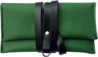 Astuccio porta tabacco custodia piccola in vera pelle pregiata e riciclata bicolor Verde e Nero fatto a mano in Italia Mad...