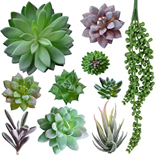 A-FUN 10pcs Artificial Fake Succulents Plants Picks Unpotted in Flocked Green in Different Type Different Size for Home Garden Wall Wedding Bouquet Wreath DIY Floral Arrangement