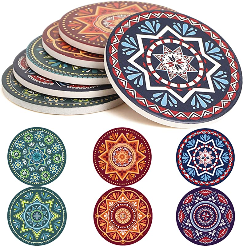 ENKORE Absorbent Coasters For Drinks 6 Pretty Mandala Patterns On Big Ceramic Stones With Cork Back Use As Elegant Home Decor And Save Your Furniture From Damage By Water Stain And Marks No Holder