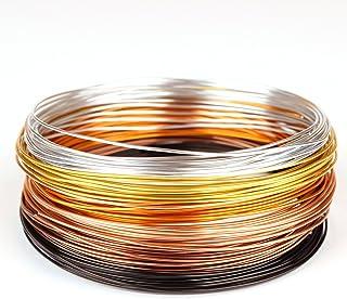 """Creacraft 30 mètres fil aluminium""""automne doré"""" - 6 bobines de 5m pour perlage et bijoux (différentes couleurs) (1 mm)"""