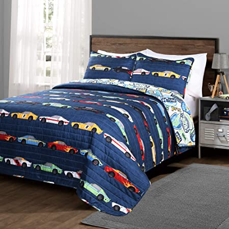 EVDAY Car Quilt Set for Boys Soft 100/% Cotton Reversible Race Cars Theme Bedspread Kids Comforter Bedding Set 2Piece Including 1Quilt,1Pillowcases Twin Size