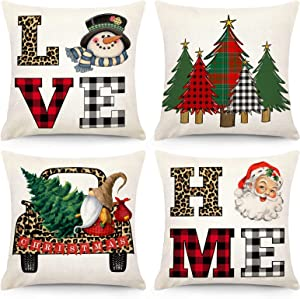CDWERD Christmas Pillow Covers 18 x 18 Inch Set of 4 Christmas Decorations Holiday Decorative Throw Pillowcase Buffalo Check Plaid Leopard Farmhouse Linen Cushion Case for Home Decor