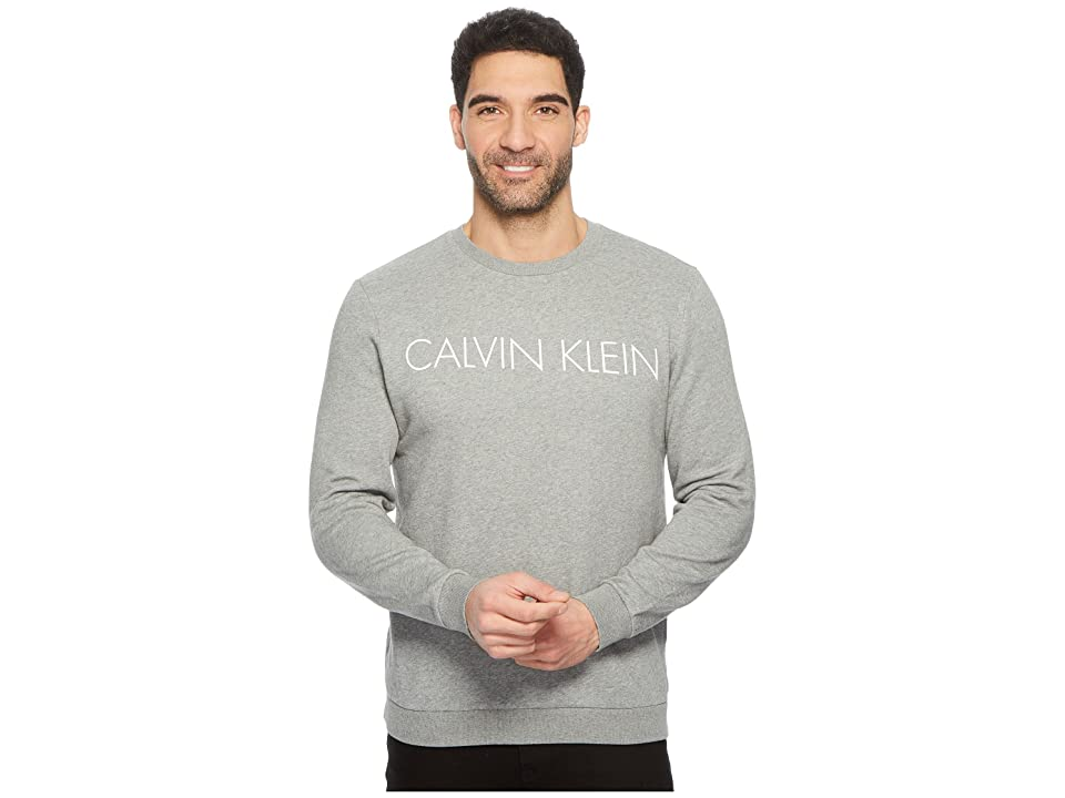 Calvin Klein Crew Neck Sweatshirt with Reflective Logo (Glacial Marl Heather) Men
