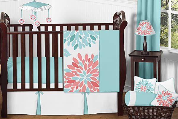 Sweet Jojo Designs 11 Piece Unique Turquoise Blue And Coral Emma Baby Girls Floral Modern Crib Bedding Set Without Bumper