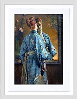 Alfred Stevens LA Parisienne JAPONAISE Black Framed Art Print Picture B12X112