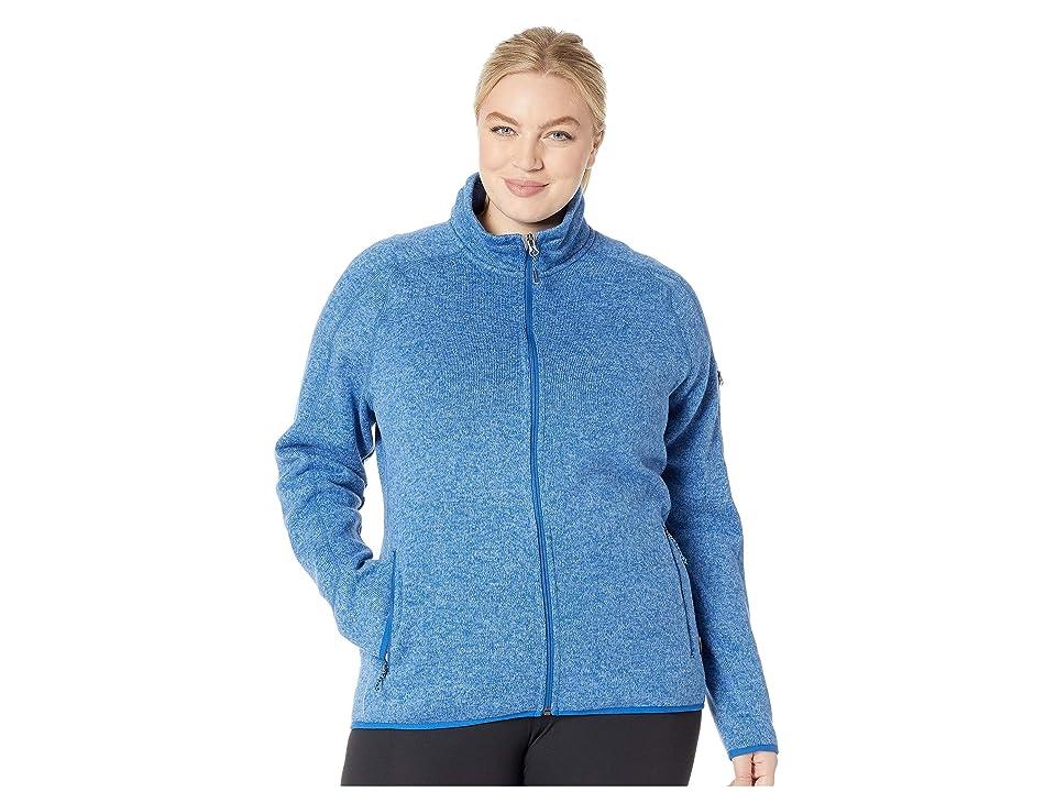 White Sierra Plus Size Sweater Fleece Full Zip Jacket (Cobalt) Women