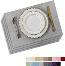 HOME BRILLIANT Placemats Set of 4 Heat Resistant Washable Placemats for Round Table, 13 x 19 inches, Light Grey