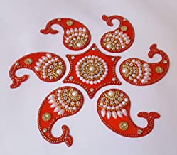 Acrylic Rangoli Mango Shape Reusable for Floor and Wall Decoration for Diwali and Puja Functions(Set of 7 Pieces) (RED)