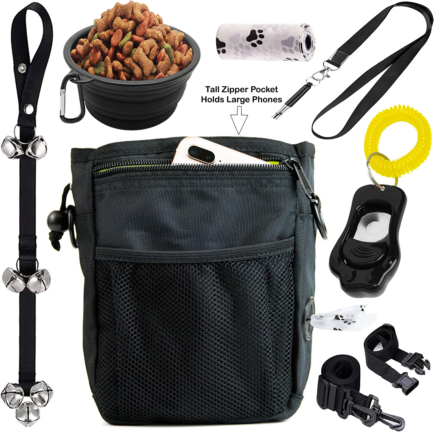 6 in 1 Puppy and Dog Training Essential Kit  Dog Treat Training Pouch, Bark Control Whistle, House Training Doorbells, Pet Clicker, Dog Bowl, and Poop Bag Ideal Gift for First Time Pet Owners