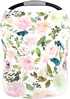 Pobi Baby Premium Quality Baby Gear - 5 in 1 Floral Nursing Cover, Baby Car Seat Covers, Infinity Scarf, High Chair Cover, and Shopping Cart Covers for Baby Girls - Baby Registry Must Haves (Allure)