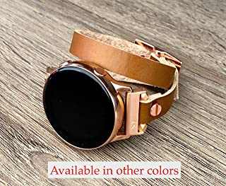 Bronze Brown Double Wrap Leather Band for Samsung Galaxy Watch 40mm & 42mm Rose Gold Smartwatch Resizable Strap Bracelet Women Jewelry Watchband