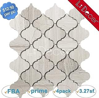 White Oak Marble Arabesque Mosaic Tiles Honed