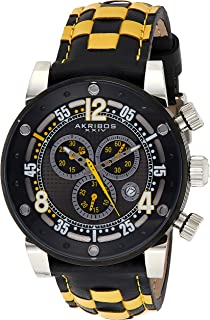 Men's 'Explorer' Chronograph Watch - 3 Multifunction Subdials with Date Window On Genuine Woven Leather Checkerboard Pattern Strap - AK612