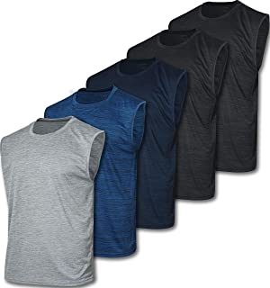5 Pack: Men's Dry-Fit Active Athletic Tech Tank Top - Workout & Training Activewear
