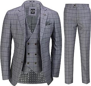 Mens 3 Piece Brown Check Suit Retro Vintage Smart Tailored Fit Classic Formal