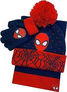 Spiderman Winter Hat Glove & Scarf Set with Gift Box Red/Navy