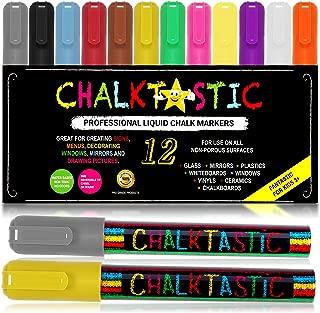 Chalk Markers by Fantastic ChalkTastic - Chalk Pens Best for Kids Art Chalkboard Labels Menu Board Bistro Boards, Window Markers, Erasable Chisel or Fine Tip Neon Colors plus White (12 Color Pack)