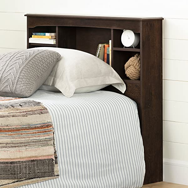 South Shore 12720 Navali Bookcase Headboard Twin Brown Oak