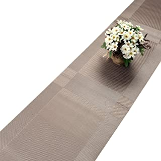 U'Artlines Compatible Placemats Table Runner, 1 Piece Champagne Crossweave Woven Vinyl Table Runner Washable 30x180cm