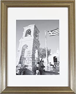 Golden State Art, Photo Frame for 11x14 Pictures, Silver Beige, with White Mat for 8x10 Photos, Real Glass