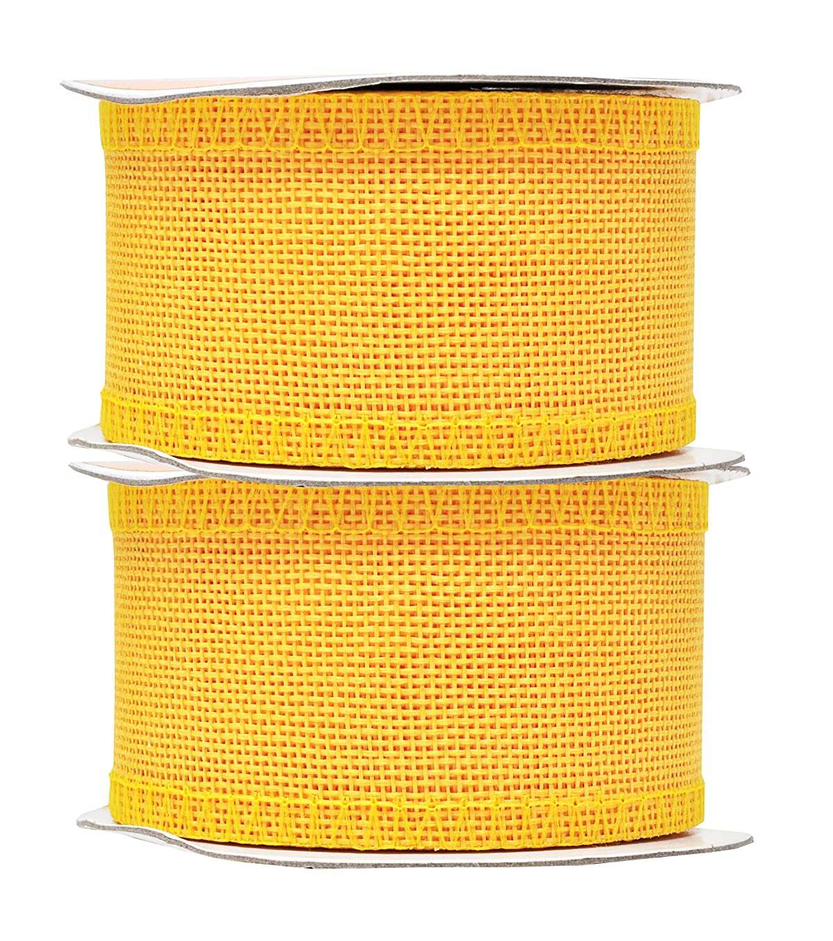 Mandala Crafts Burlap Ribbon, Jute Fabric Strip Spool for Rustic Ornament, Wreath Making, Holiday Decorating, Gift Wrapping (Yellow, 2 Inches)