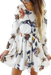 Womens Dresses Casual Floral Print Long Sleeve Swing...