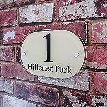 Huisnummers Personaliseer Huisnummer tekenen Adres Plaques Deur Nummerplaten Gepersonaliseerd Glass Effect naamplaatjes (C...