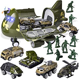 15 PCS Military Friction Powered Transport Cargo Airplane Toy with Die-cast Military Cars Including 6 Diecast Military Vehicle Toys and Army Men Action Figures for Combat Toy Imaginative Play