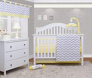 OptimaBaby 6 Piece Unisex Baby Nursery Crib Bedding Set, Chevron, Yellow/White/Gray