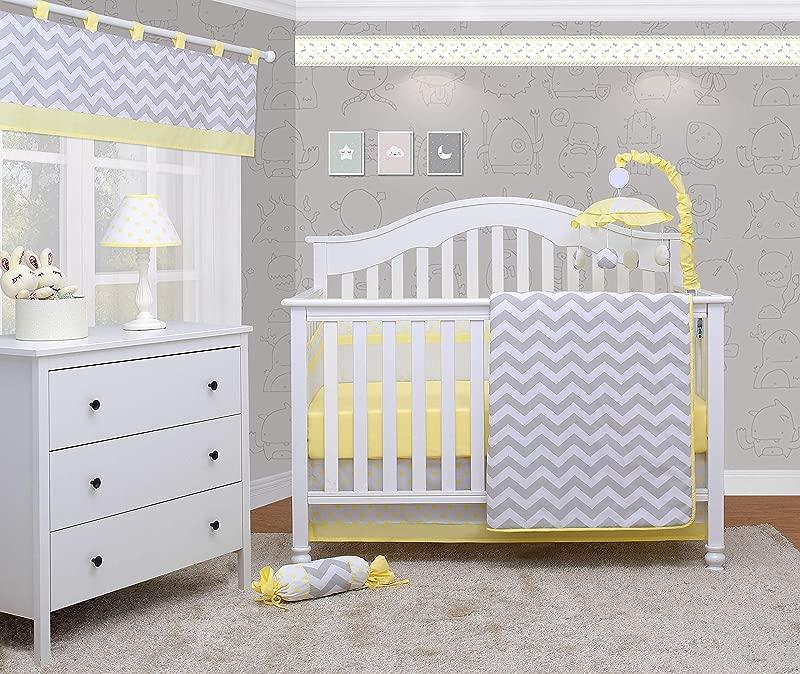 OptimaBaby 6 Piece Unisex Baby Nursery Crib Bedding Set Chevron Yellow White Gray
