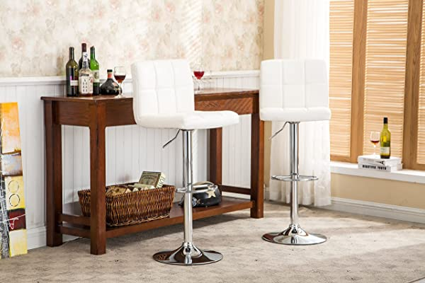 Roundhill Swivel PU Leather Adjustable Hydraulic Bar Stool White Set Of 2