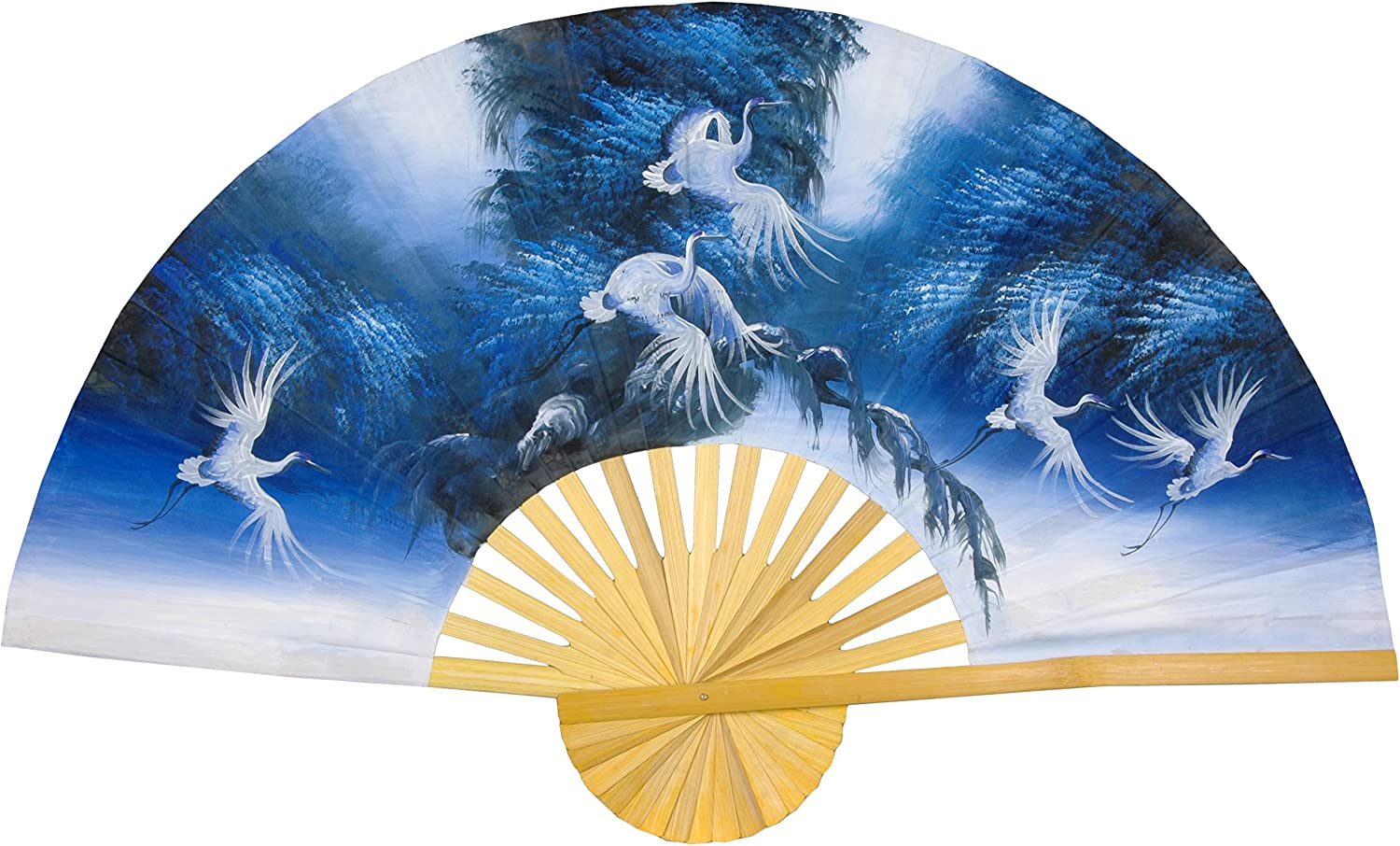 Oriental Furniture Unique Gifts for Girl Woman Lady, 40Inch Painted Thai Silk and Bamboo Decorative Wall Fan, bluee Exultation