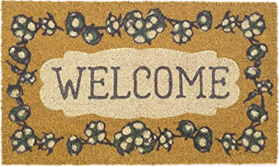 Avera Products Welcome Cotton Rustic Mat, All Natural Coir Fiber with Anti-Slip PVC Backing, 17x29 ADS018