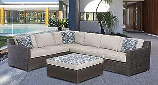 Hanover Metropolitan 5-Piece Outdoor Lounge Set, Silver Lining